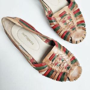 Soft Spots Huaraches Sandal Woven Flat Leather 7.5